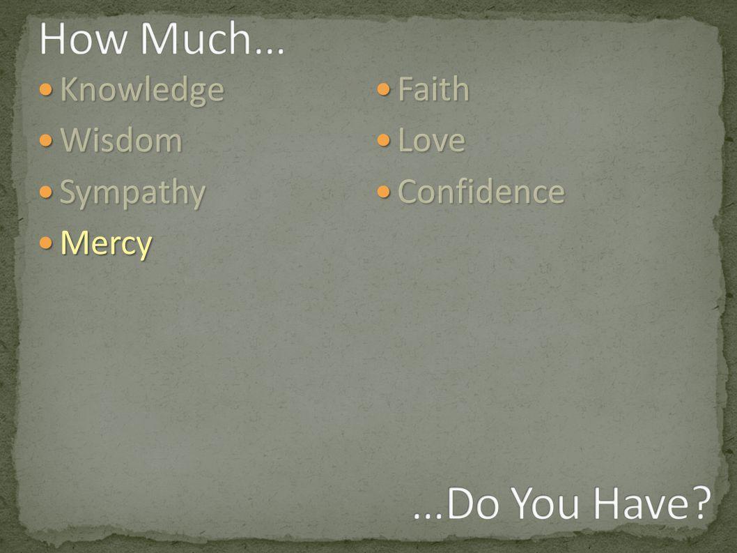 Knowledge Knowledge Wisdom Wisdom Sympathy Sympathy Mercy Mercy Faith Faith Love Love Confidence Confidence