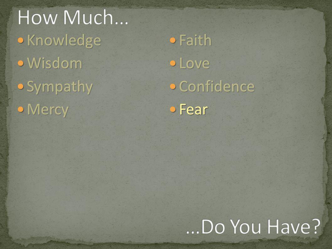 Knowledge Knowledge Wisdom Wisdom Sympathy Sympathy Mercy Mercy Faith Faith Love Love Confidence Confidence Fear Fear