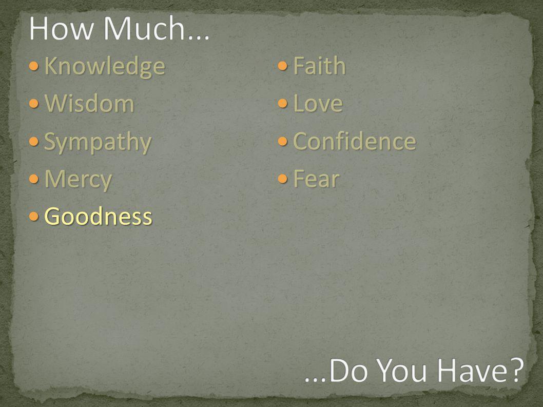 Knowledge Knowledge Wisdom Wisdom Sympathy Sympathy Mercy Mercy Goodness Goodness Faith Faith Love Love Confidence Confidence Fear Fear