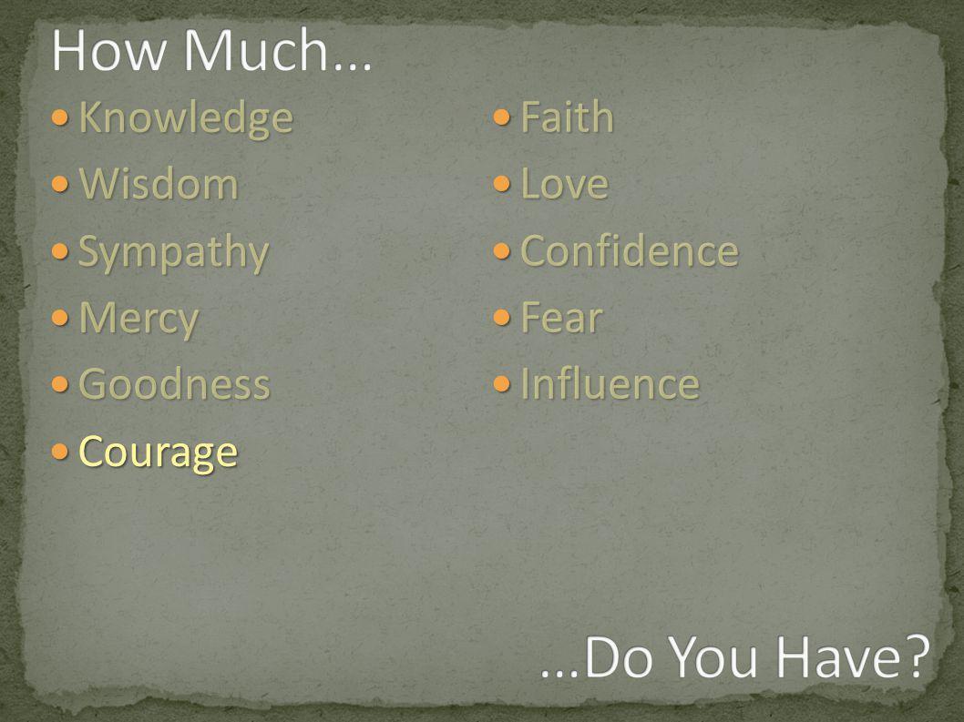 Knowledge Knowledge Wisdom Wisdom Sympathy Sympathy Mercy Mercy Goodness Goodness Courage Courage Faith Faith Love Love Confidence Confidence Fear Fear Influence Influence