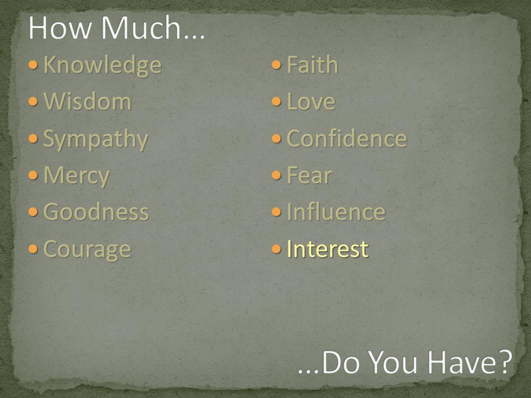 Knowledge Knowledge Wisdom Wisdom Sympathy Sympathy Mercy Mercy Goodness Goodness Courage Courage Faith Faith Love Love Confidence Confidence Fear Fear Influence Influence Interest Interest