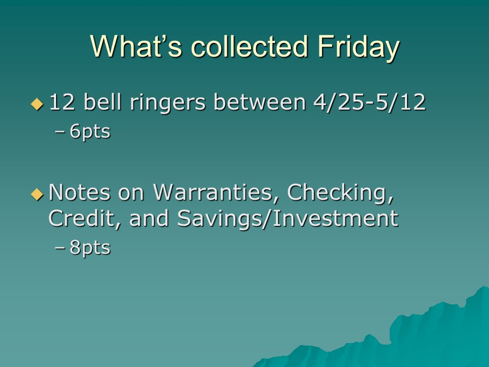 What's collected Friday  12 bell ringers between 4/25-5/12 –6pts  Notes on Warranties, Checking, Credit, and Savings/Investment –8pts