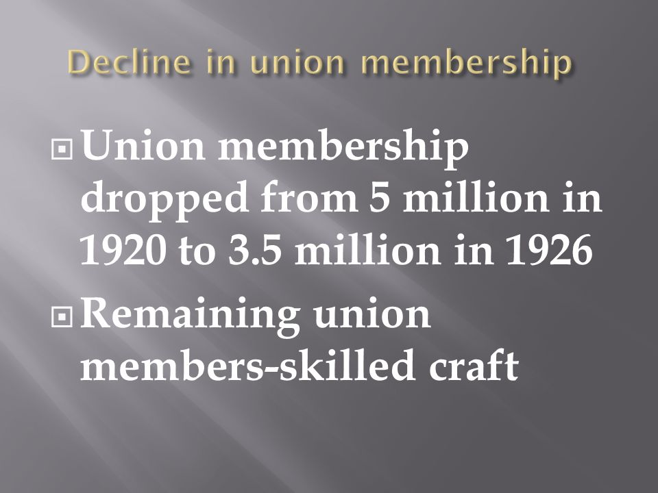  Union membership dropped from 5 million in 1920 to 3.5 million in 1926  Remaining union members-skilled craft