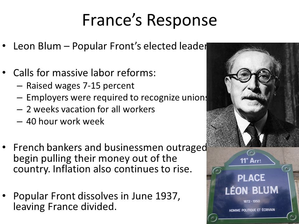 France's Response Leon Blum – Popular Front's elected leader Calls for massive labor reforms: – Raised wages 7-15 percent – Employers were required to