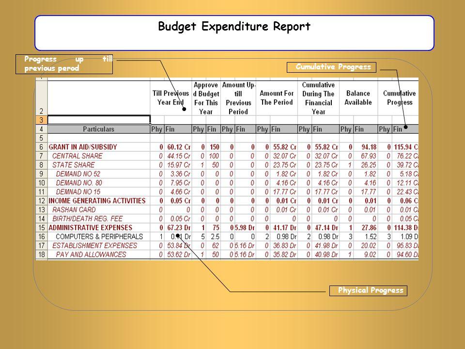 Budget Expenditure Report Physical Progress Cumulative Progress Progress up till previous perod