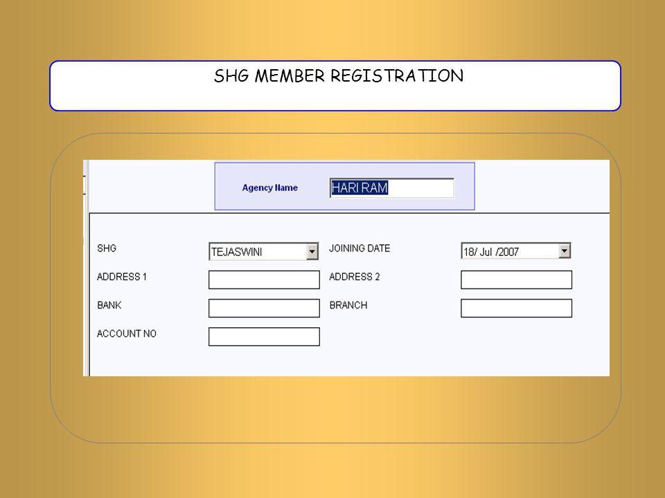 SHG MEMBER REGISTRATION