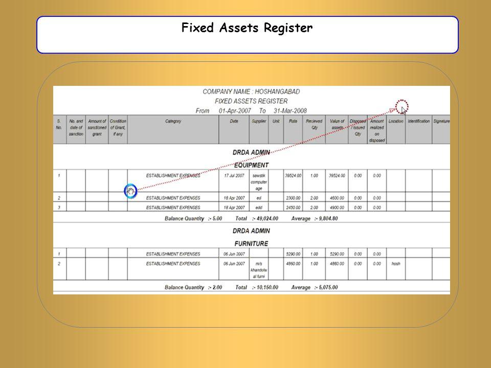 Fixed Assets Register