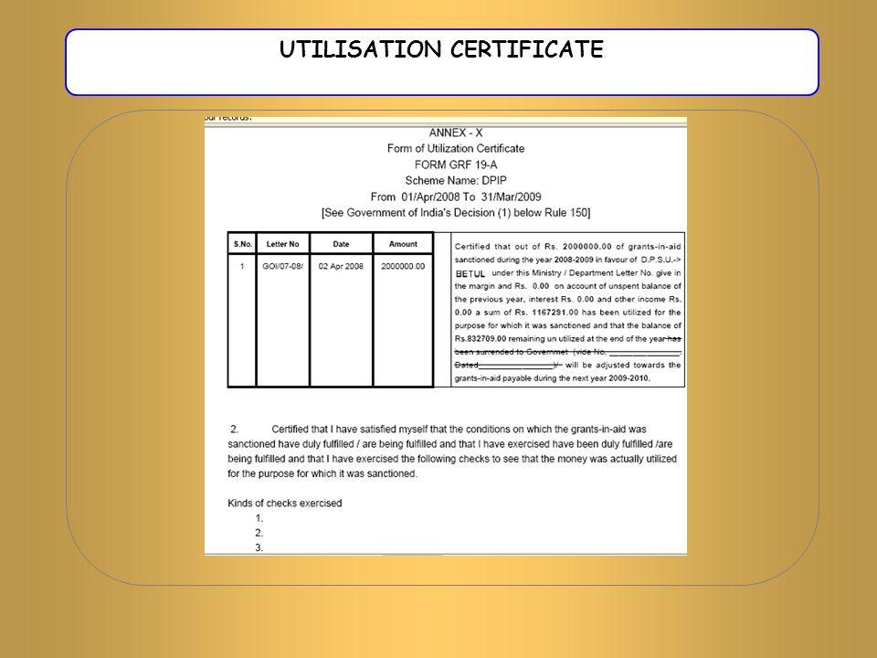 UTILISATION CERTIFICATE