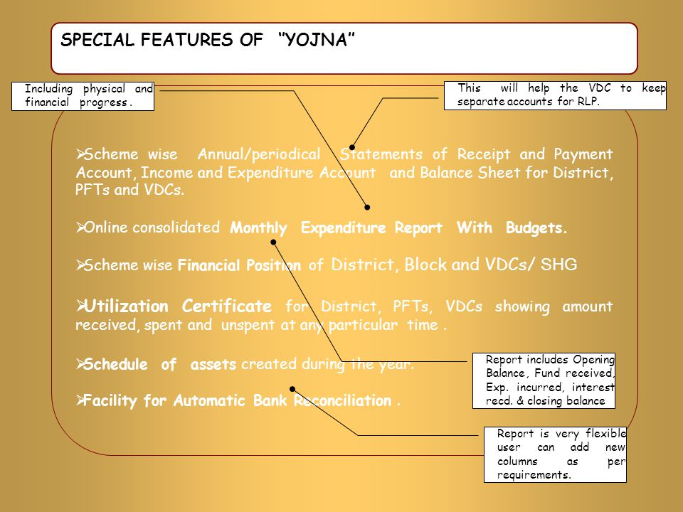 SPECIAL FEATURES OF ''YOJNA''  Scheme wise Annual/periodical Statements of Receipt and Payment Account, Income and Expenditure Account and Balance Sh
