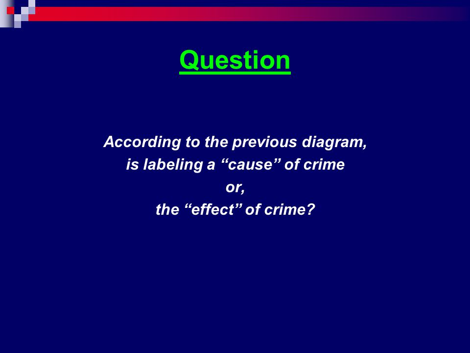 """Question According to the previous diagram, is labeling a """"cause"""" of crime or, the """"effect"""" of crime?"""