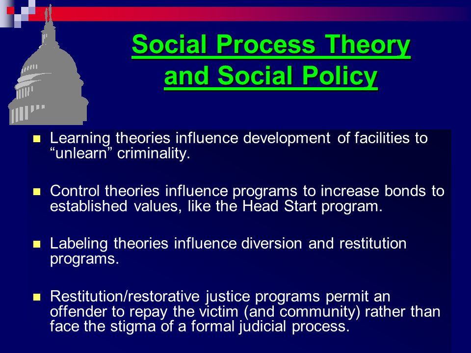"""Social Process Theory and Social Policy Learning theories influence development of facilities to """"unlearn"""" criminality. Control theories influence pro"""