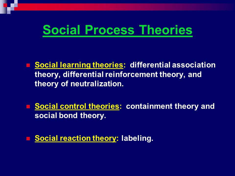 Social Process Theories Social learning theories: differential association theory, differential reinforcement theory, and theory of neutralization. So