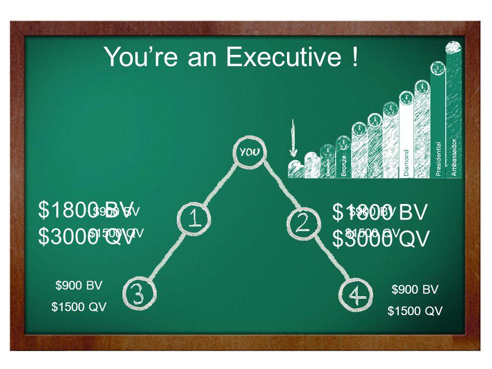 $900 BV $1500 QV $900 BV $1500 QV $900 BV $1500 QV $900 BV $1500 QV $1800 BV $3000 QV $1800 BV $3000 QV You're an Executive !
