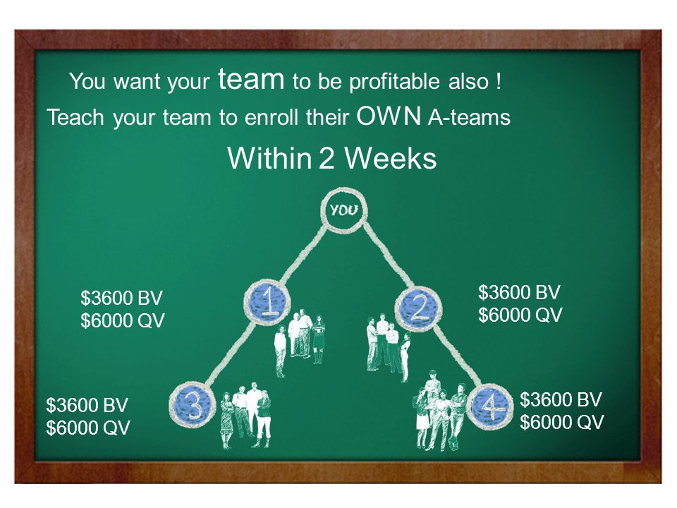 $3600 BV $6000 QV $3600 BV $6000 QV $3600 BV $6000 QV $3600 BV $6000 QV You want your team to be profitable also .
