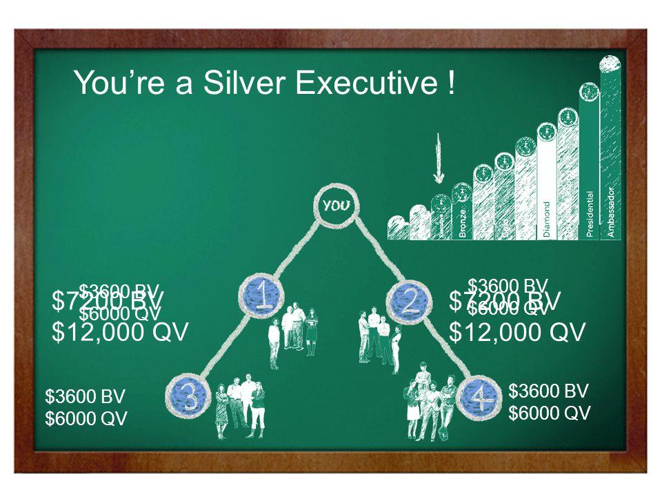 $3600 BV $6000 QV $3600 BV $6000 QV $3600 BV $6000 QV $3600 BV $6000 QV $7200 BV $12,000 QV $7200 BV $12,000 QV You're a Silver Executive !