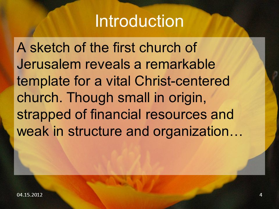 04.15.201215 Rediscover the first things about the First Church: I.The First Church is a __________ church.