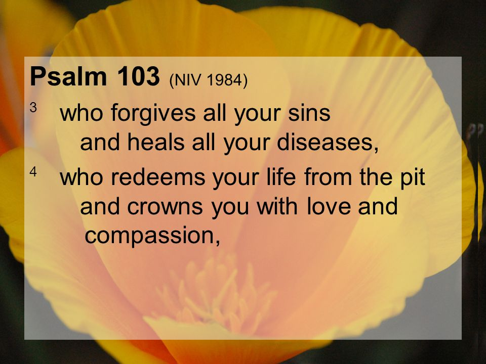 04.15.201254 Psalm 103 (NIV 1984) 3 who forgives all your sins and heals all your diseases, 4 who redeems your life from the pit and crowns you with l