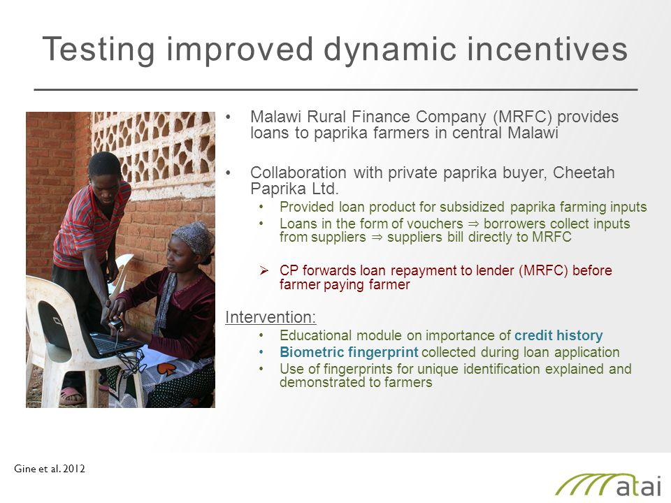 Testing improved dynamic incentives Malawi Rural Finance Company (MRFC) provides loans to paprika farmers in central Malawi Collaboration with private paprika buyer, Cheetah Paprika Ltd.