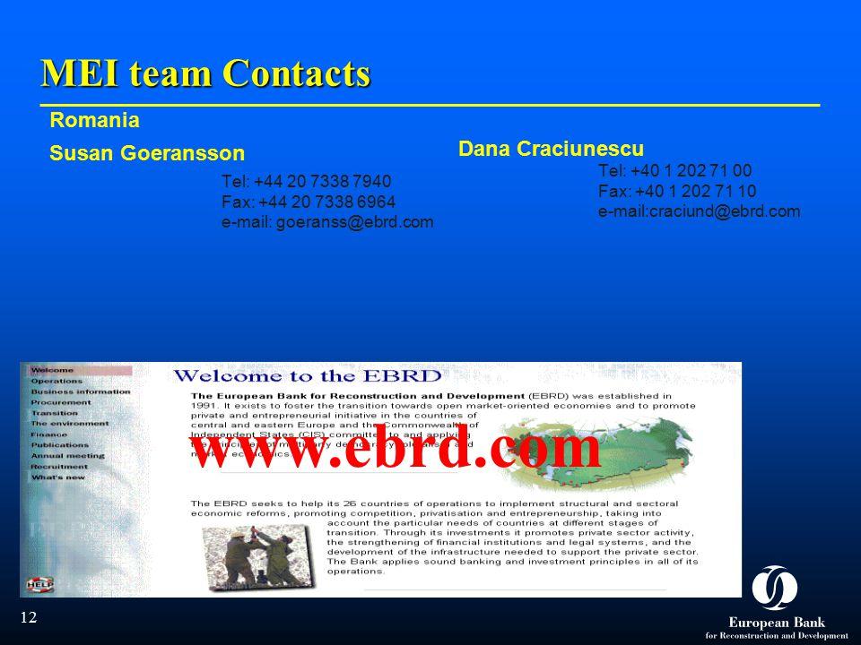  12 MEI team Contacts Romania Susan Goeransson Tel: +44 20 7338 7940 Fax: +44 20 7338 6964 e-mail: goeranss@ebrd.com Dana Craciunescu Tel: +40 1 202 71 00 Fax: +40 1 202 71 10 e-mail:craciund@ebrd.com www.ebrd.com