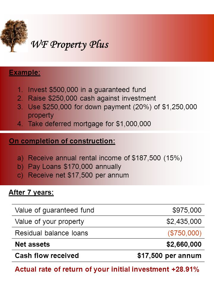 WF Property Plus Your personal evaluation: Your investment in Capital Guaranteed Fund Cash raised against investment (50%) Value of property acquired (5 times cash raised) Value of your Capital Guaranteed Fund Value of your Property Residual balance of Mortgage Net Assets Cash flow received annually Mr./Ms ………………………………..…………………….