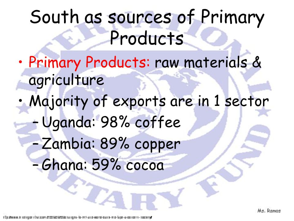 South as sources of Primary Products Primary Products: raw materials & agriculture Majority of exports are in 1 sector –Uganda: 98% coffee –Zambia: 89% copper –Ghana: 59% cocoa