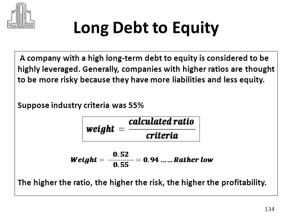 Equity to Debt The Equity to Total Debt ratio measures how much debt the company can have and still be able to meet debt obligations with its equity.