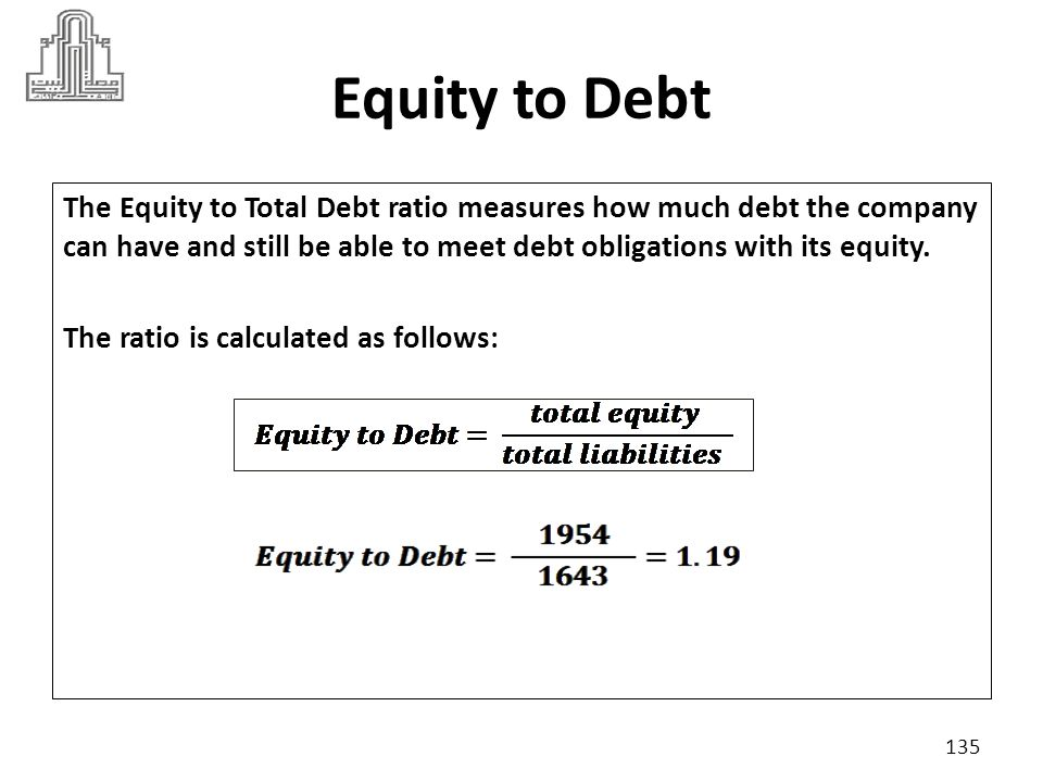 Equity to Debt Suppose industry criteria was 1.25 High ratio is considered to be lower leveraged.