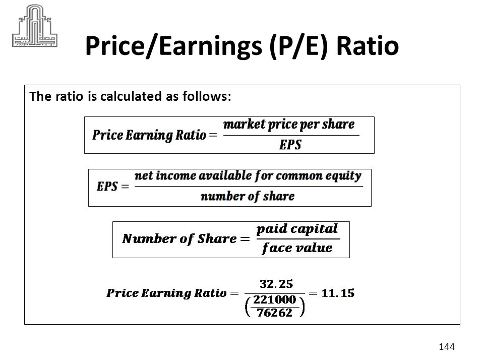 Price/Earnings (P/E) Ratio Suppose industry criteria was 11  A high P/E usually indicates that the market will pay more to obtain the company s earnings because investors believe the ability of firm to increase its earnings.