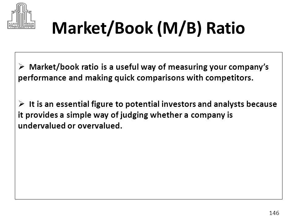 Market/Book (M/B) Ratio The ratio is calculated as follows: 147