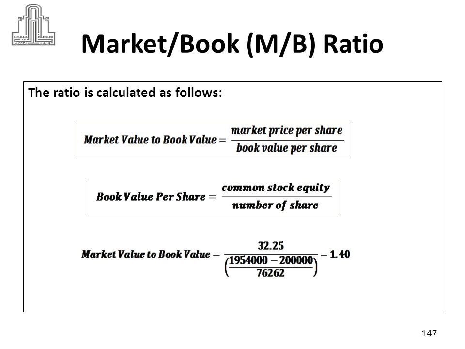 Market/Book (M/B) Ratio Suppose industry criteria was 2 : A higher P/B ratio could mean that the stock is overvalued 148