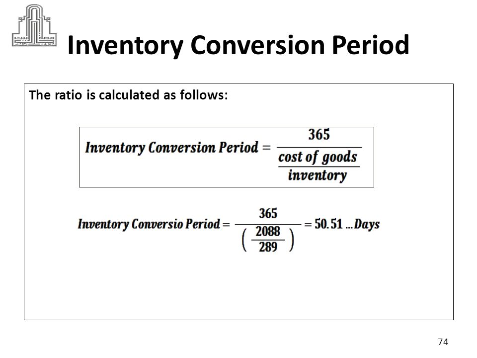 Inventory Conversion Period Suppose industry criteria was 45 days: The lower the Inventory conversion period ratio than criteria is the better.