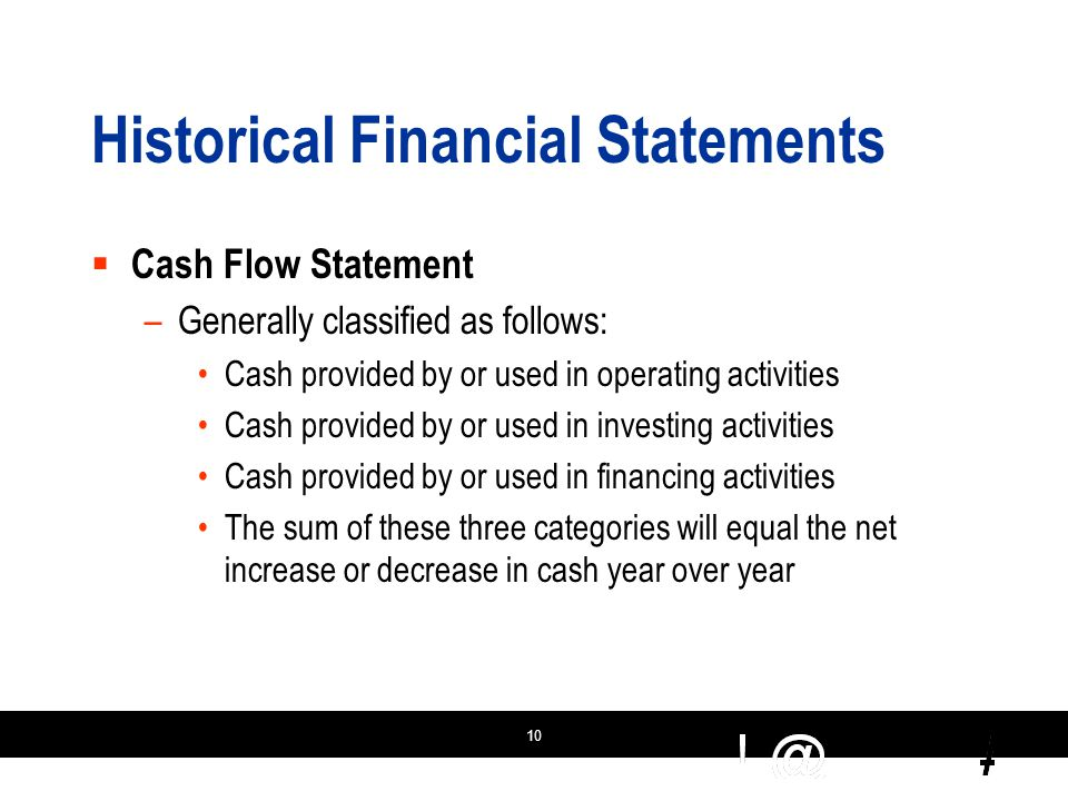 10 Historical Financial Statements  Cash Flow Statement –Generally classified as follows: Cash provided by or used in operating activities Cash provided by or used in investing activities Cash provided by or used in financing activities The sum of these three categories will equal the net increase or decrease in cash year over year