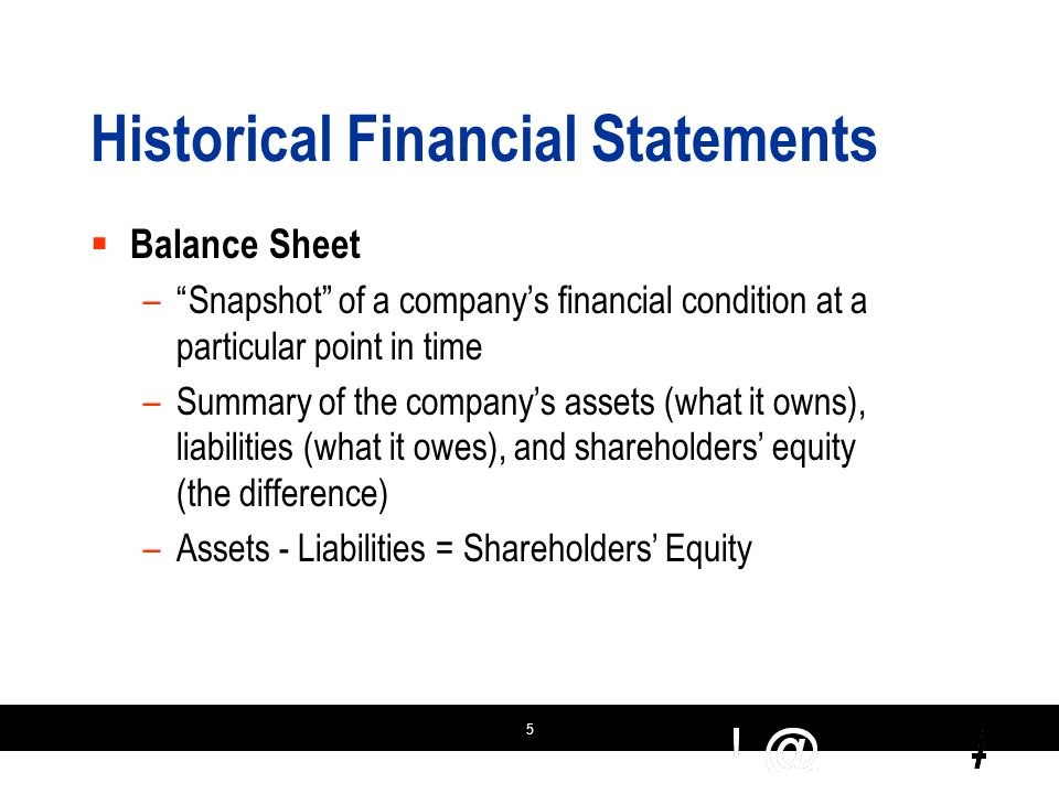 5 Historical Financial Statements  Balance Sheet – Snapshot of a company's financial condition at a particular point in time –Summary of the company's assets (what it owns), liabilities (what it owes), and shareholders' equity (the difference) –Assets - Liabilities = Shareholders' Equity