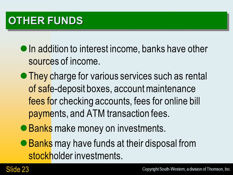 Copyright South-Western, a division of Thomson, Inc. Slide 23 OTHER FUNDS In addition to interest income, banks have other sources of income. They cha