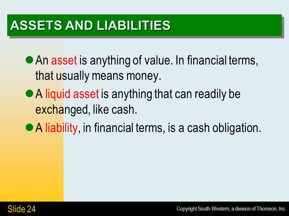 Copyright South-Western, a division of Thomson, Inc. Slide 24 ASSETS AND LIABILITIES An asset is anything of value. In financial terms, that usually m