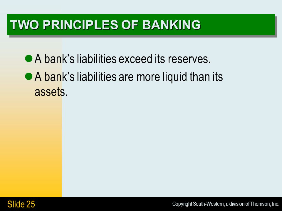 Copyright South-Western, a division of Thomson, Inc. Slide 25 TWO PRINCIPLES OF BANKING A bank's liabilities exceed its reserves. A bank's liabilities