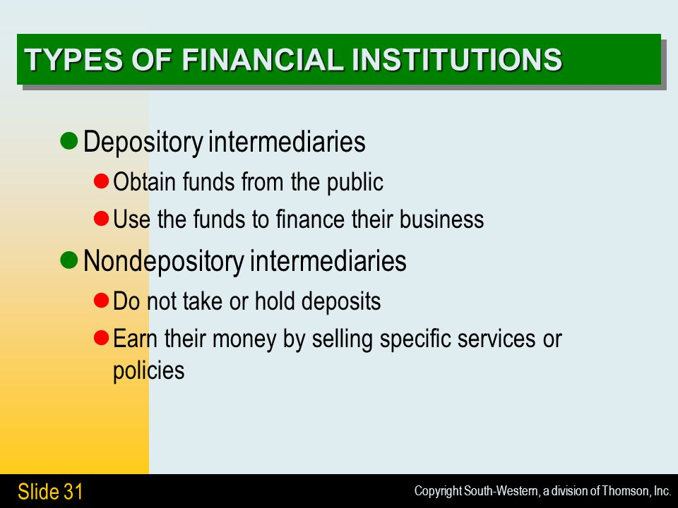 Copyright South-Western, a division of Thomson, Inc. Slide 31 TYPES OF FINANCIAL INSTITUTIONS Depository intermediaries Obtain funds from the public U