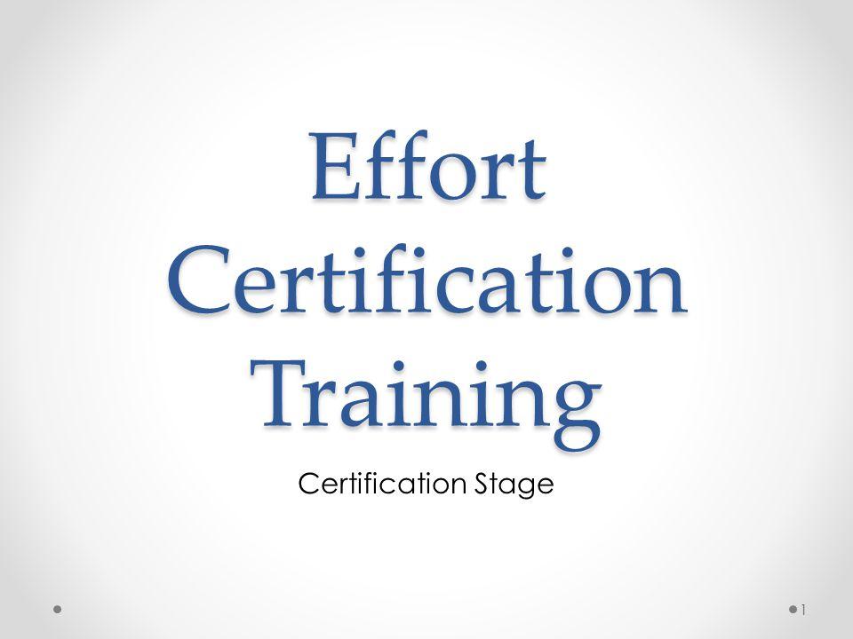 Effort Certification Training Certification Stage 1