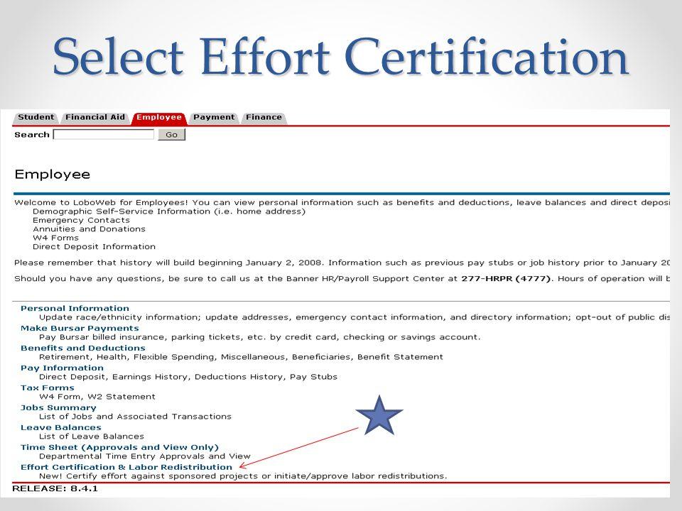Select Effort Certification 8