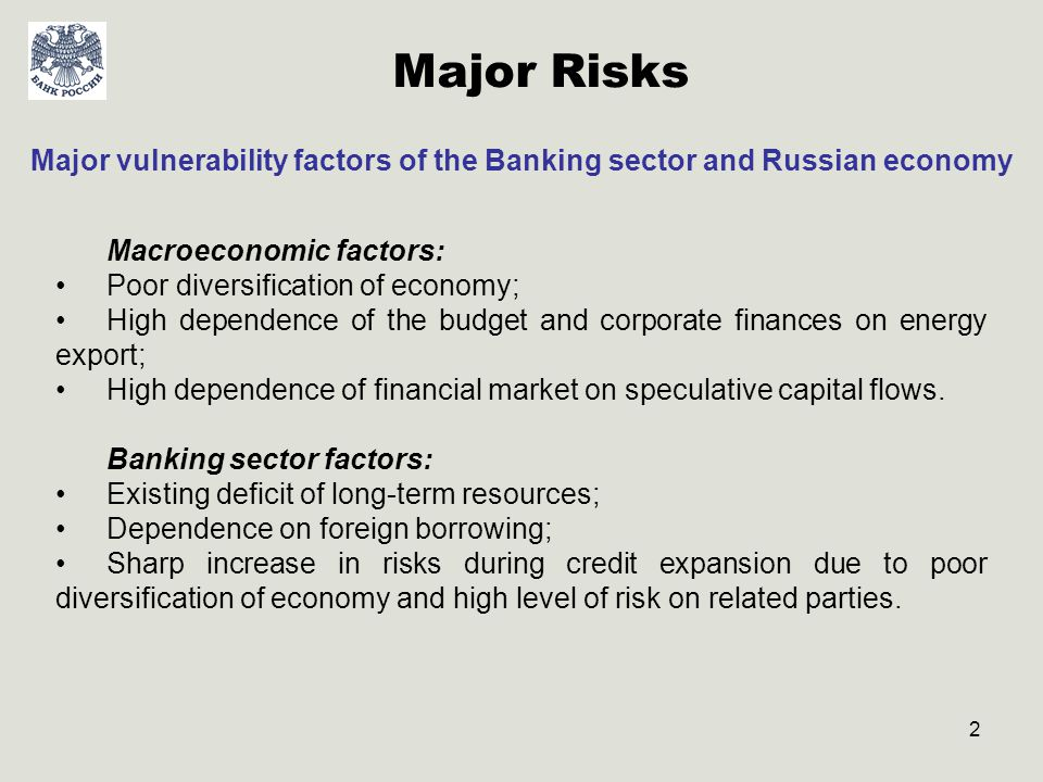 3 Global Financial Crisis and its Influence on the Russian Banking System Main channels of influence: drastic and significant deterioration of foreign borrowing conditions (for the most reliable Russian corporations and banks)/ closing of the international credit market for the rest of Russian borrowers; outflow of private capital from Russia (net outflow more than -180,5 bln.