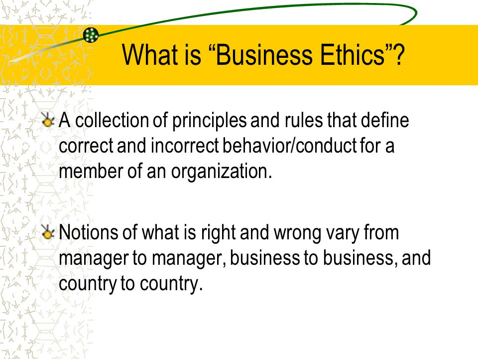What is Business Ethics .