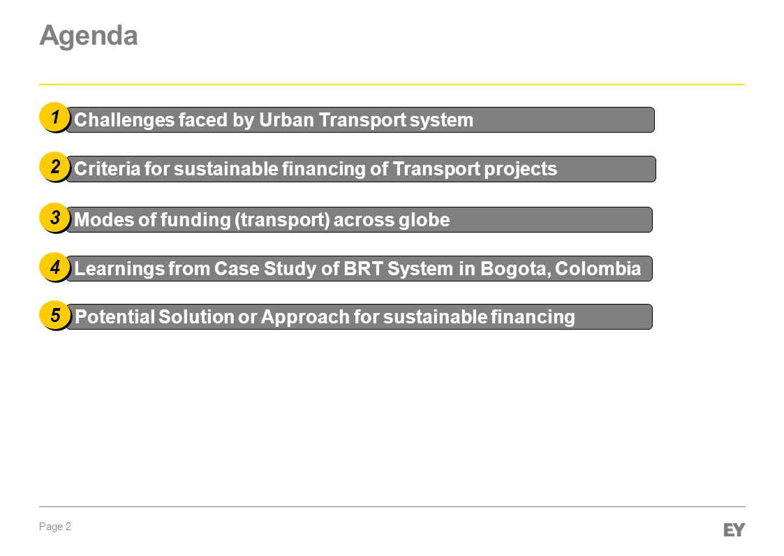 Page 2 Agenda Challenges faced by Urban Transport system 1 1 Criteria for sustainable financing of Transport projects Modes of funding (transport) acr