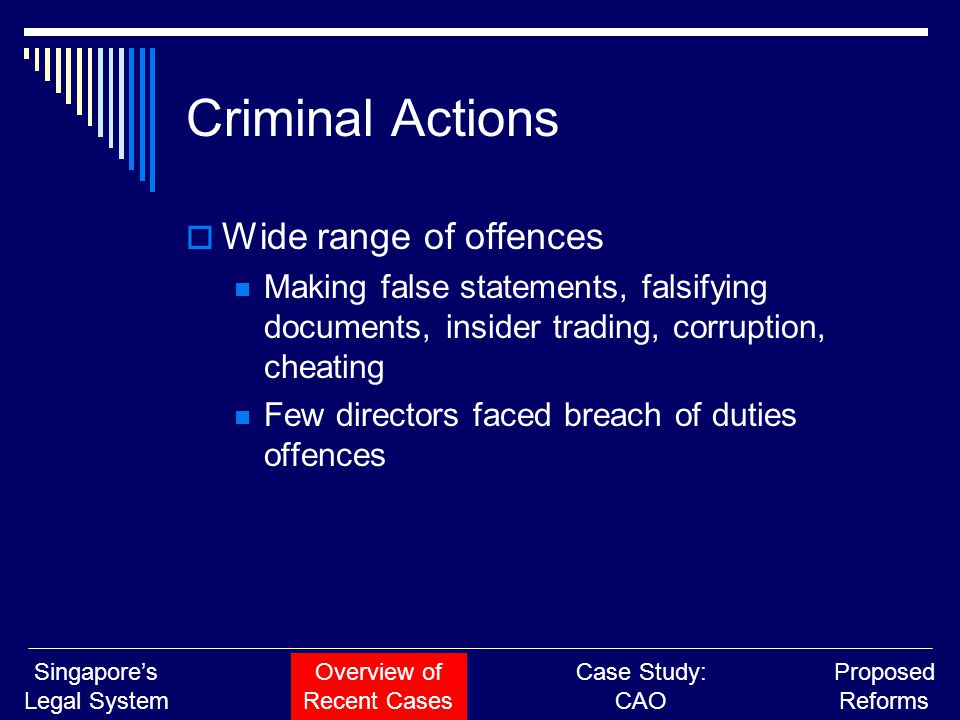 Criminal Actions  Wide range of offences Making false statements, falsifying documents, insider trading, corruption, cheating Few directors faced bre