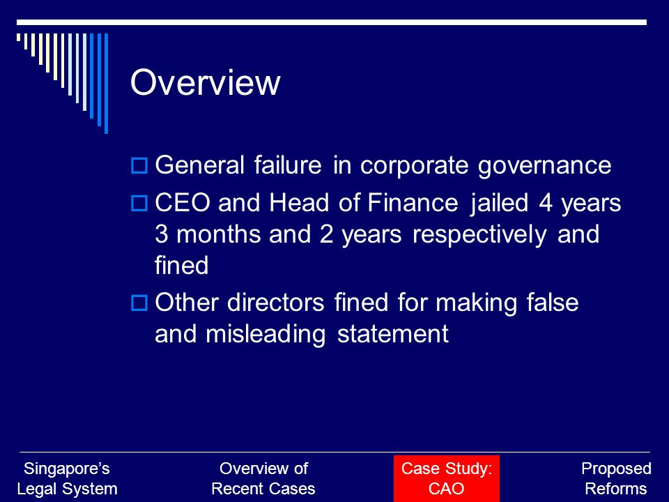 Overview  General failure in corporate governance  CEO and Head of Finance jailed 4 years 3 months and 2 years respectively and fined  Other direct