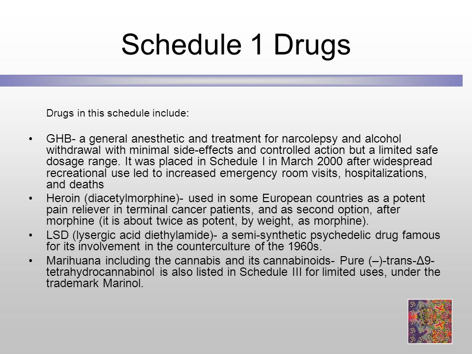 Schedule 1 Drugs Drugs in this schedule include: GHB- a general anesthetic and treatment for narcolepsy and alcohol withdrawal with minimal side-effects and controlled action but a limited safe dosage range.