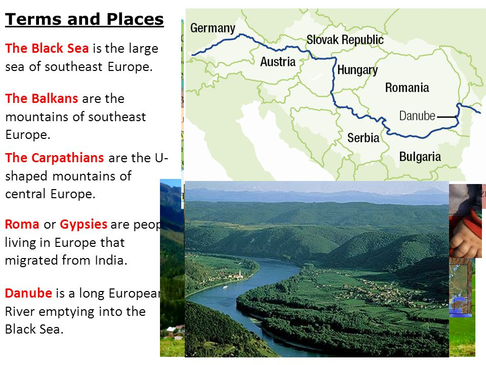 Romania lies in the south of eastern Europe. Romania lies at the base of the Balkan Peninsula.