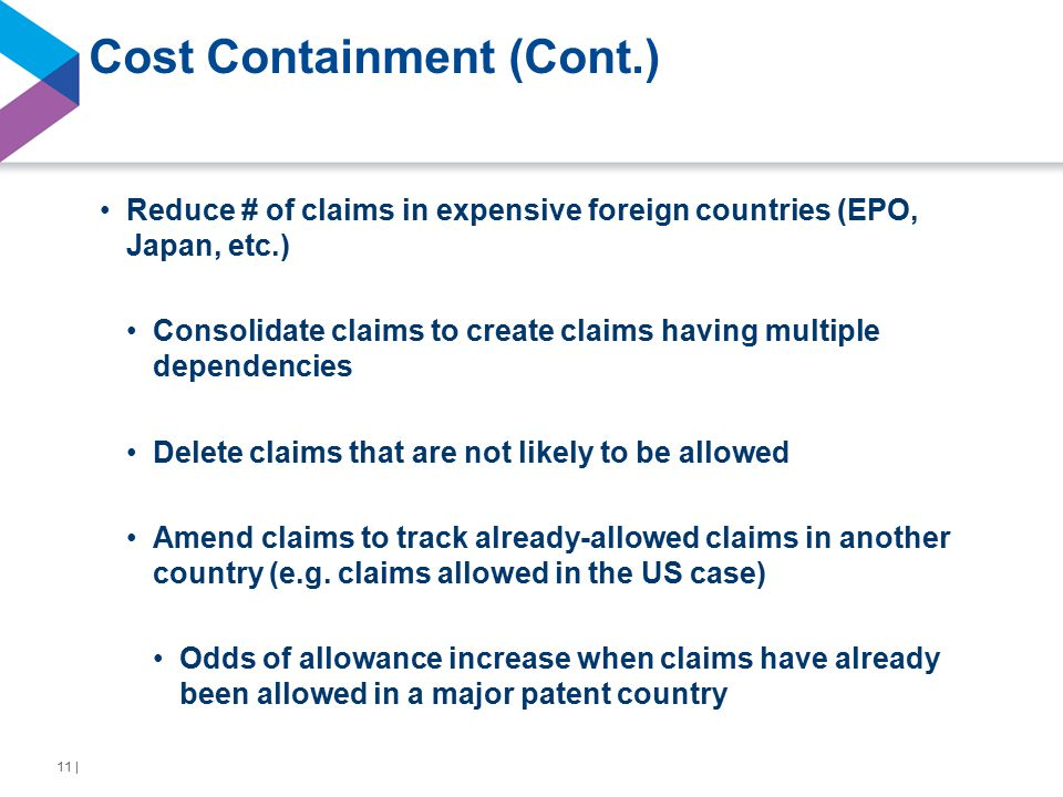 Cost Containment (Cont.) Reduce # of claims in expensive foreign countries (EPO, Japan, etc.) Consolidate claims to create claims having multiple dependencies Delete claims that are not likely to be allowed Amend claims to track already-allowed claims in another country (e.g.