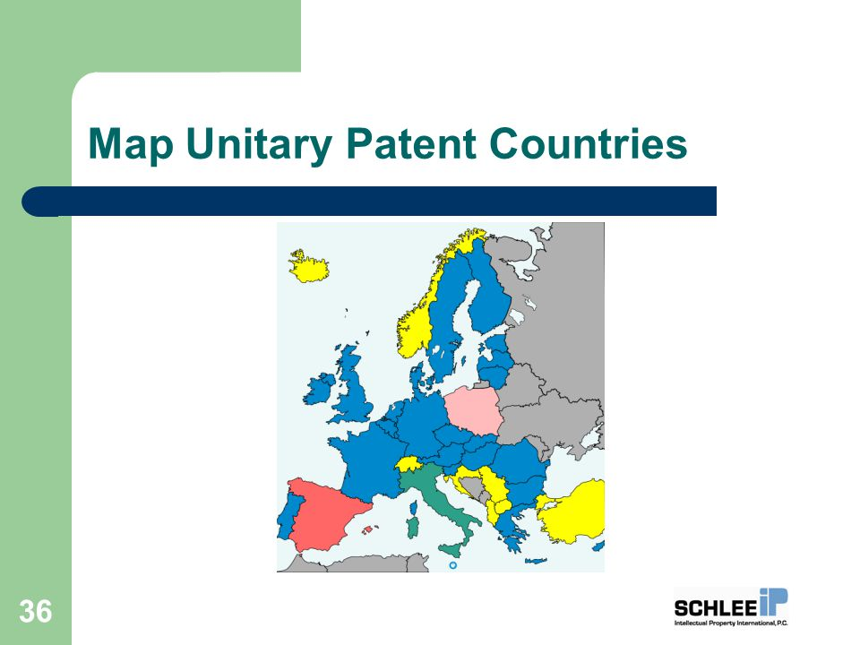 Map Unitary Patent Countries 36