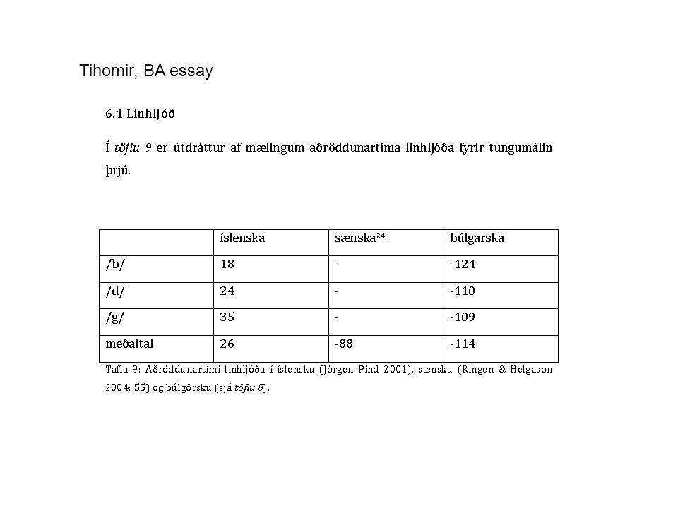 Tihomir, BA essay