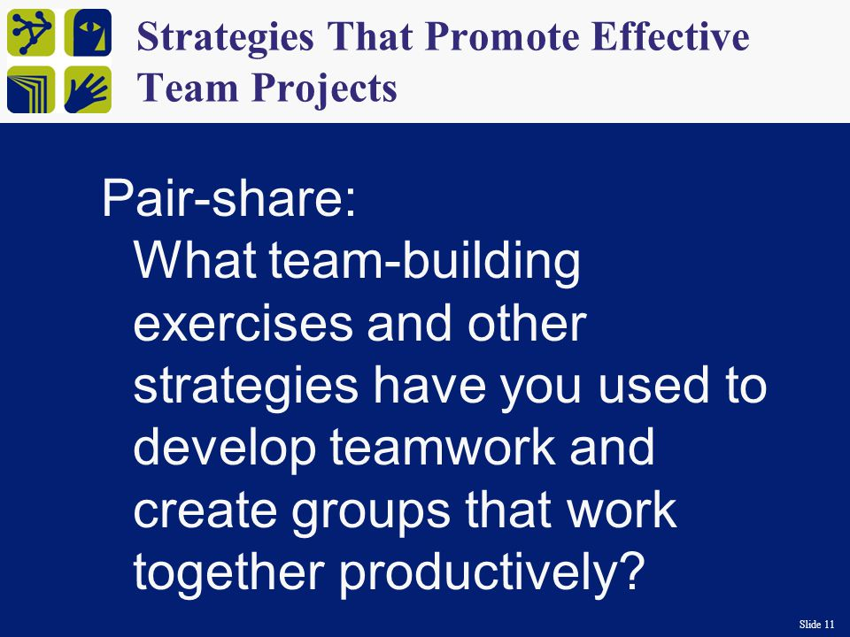 Slide 11 Strategies That Promote Effective Team Projects Pair-share: What team-building exercises and other strategies have you used to develop teamwork and create groups that work together productively